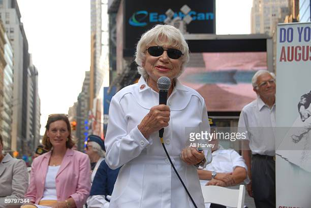 Edith Shain attends the reenactment of Alfred Eisenstaedt's famous photo of the Times Square victory kiss on August 14, 2009 in New York City.