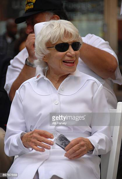 Edith Shain attends the reenactment of Alfred Eisenstaedt's famous photo of the Times Square victory kiss on August 14 2009 in New York City