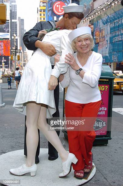 Edith Shain during The Original Nurse from the Iconic VJ Day Photo Returns to Times Square 60 Years After the End of World War II at Times Square in...