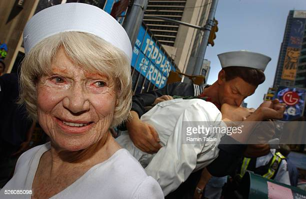 Edith Shain who claims to be the nurse in the famous photograph being kissed by a sailor during the celebration of the Allied victory ending World...