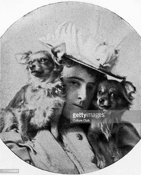 Edith Wharton with her dogs American novelist short story writer and designer 24 January 1862 – 11 August 1937 Known for her novel 'The house of...