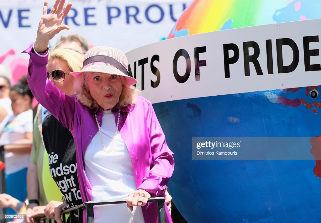 Edith Windsor attends the New York City Gay Pride 2017 march on June 25, 2017 in New York City.