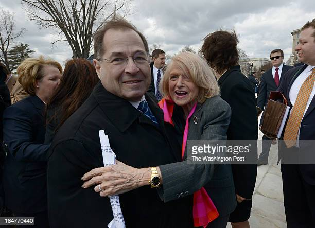 Edith Windsor, center, plaintiff in the Defense of Marriage Act currently before the Supreme Court, embraces Rep. Jerrold Nadler , her...