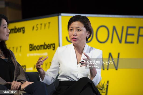 Edith Yeung partner of 500 Startups Management Co speaks during the Sooner Than You Think conference in the Brooklyn borough of New York US on...