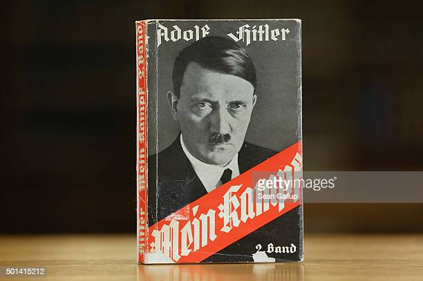 A 1941 edition of Adolf Hitler's Mein Kampf stands at the library of the Deutsches Historisches Museum on December 15 2015 in Berlin Germany The...