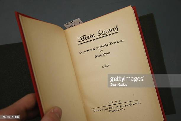 A 1927 edition of Adolf Hitler's Mein Kampf volume two lies at the library of the Deutsches Historisches Museum on December 15 2015 in Berlin Germany...