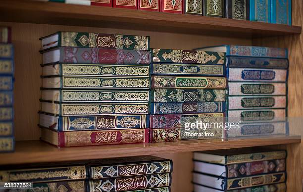 Editions of the Koran are stacked in a shelf in the Shishan mosque on April 08 2016 in Sweileh Jordan