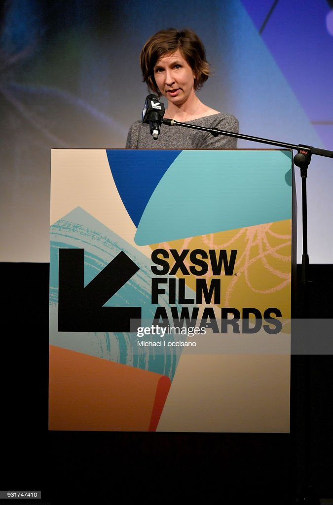 Editor and graphic designer Kristin Bye accepts the Karen Schmeer Film Editing Fellowship Presentation Award at the SXSW Film Awards show during the 2018 SXSW Conference and Festivals at Paramount Theatre on March 13, 2018 in Austin, Texas.