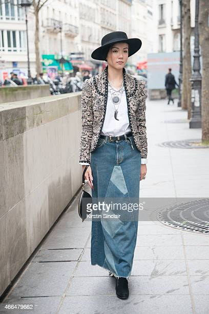 Editor and stylist Yo Yo wears all Saint Laurent on day 7 of Paris Collections Women on March 09 2015 in Paris France