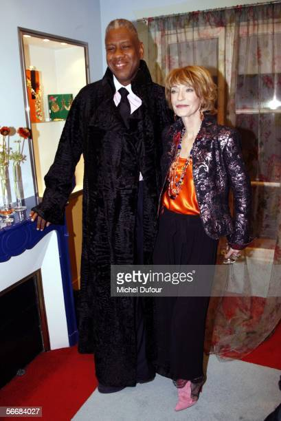 Editor Andre Leon Talley and designer Loulou de la Falaise attend her Cocktail Party during Paris Fashion Week Spring/Summer 2006 on January 24, 2006...