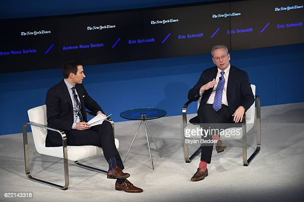 Editor at Large and Columnist for The New York Times Andrew Ross Sorkin and Executive Chairman of Alphabet, Inc. Eric Schmidt speak onstage at The...