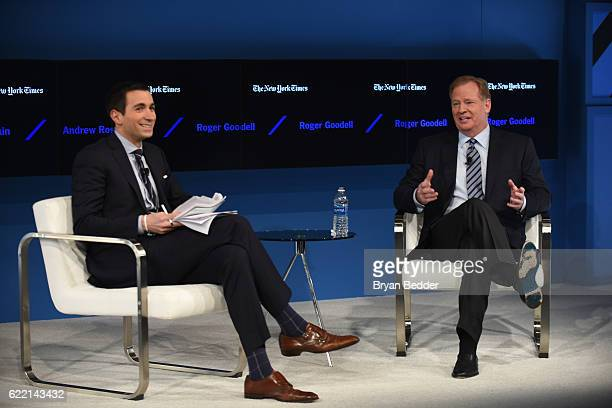 Editor at Large and Columnist for The New York Times Andrew Ross Sorkin and Commissioner of the National Football League Roger Goodell speak at The...
