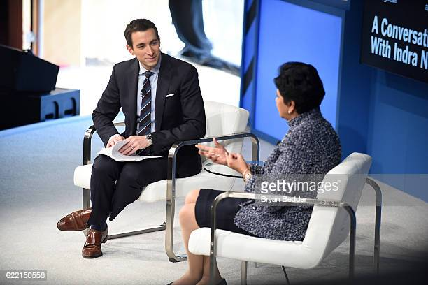 Editor at Large and Columnist for The New York Times Andrew Ross Sorkin and Chairman and CEO of PepsiCo Indra Nooyi speak at The New York Times...