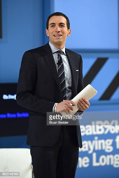 Editor at Large and Columnist for The New York Times Andrew Ross Sorkin speaks on stage at The New York Times DealBook Conference at Jazz at Lincoln...