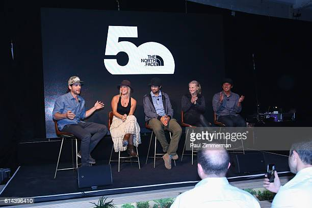 Editor at Large Outside Magazine Grayson Schaffer speaks with Angel Collinson Renan Ozturk Emily Harrington and Jimmy Chin at The North Face event...