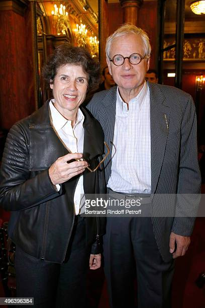 Editor Bernard Fixot and his wife ValerieAnne Giscard d'Estaing attend the Theater Play 'Ne me regardez pas comme ca ' performed at 'Theatre Des...