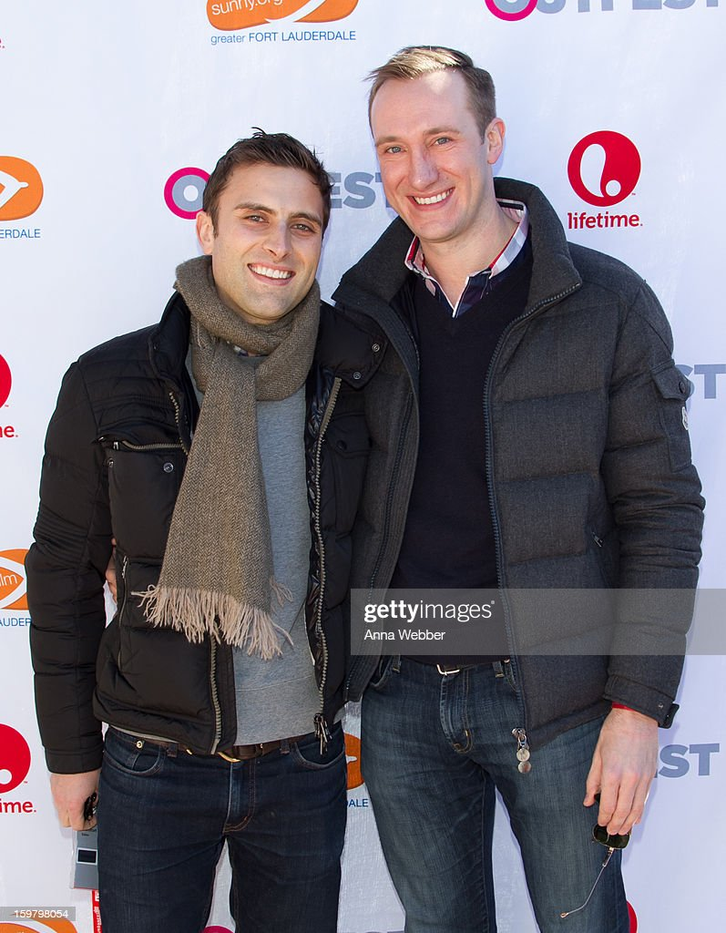 Editor Brad Comfort and Adam Smith arrive to Outfest Queer Brunch - 2013 Park City on January 20, 2013 in Park City, Utah.