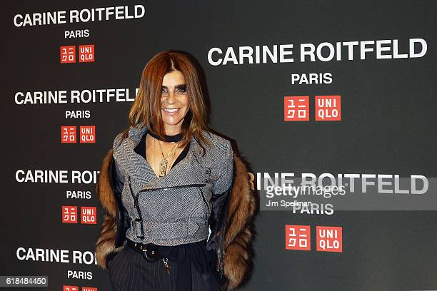 Editor Carine Roitfeld attends the UNIQLO Fall/Winter 2016 Carine Roitfeld Collection launch at UNIQLO on October 26 2016 in New York City