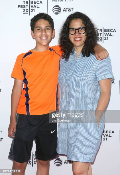 """Editor Carla Gutierrez and Diego Aguirre attend the """"The Last Out"""" premiere during the 2021 Tribeca Festival at Empire Outlets on June 19, 2021 in..."""