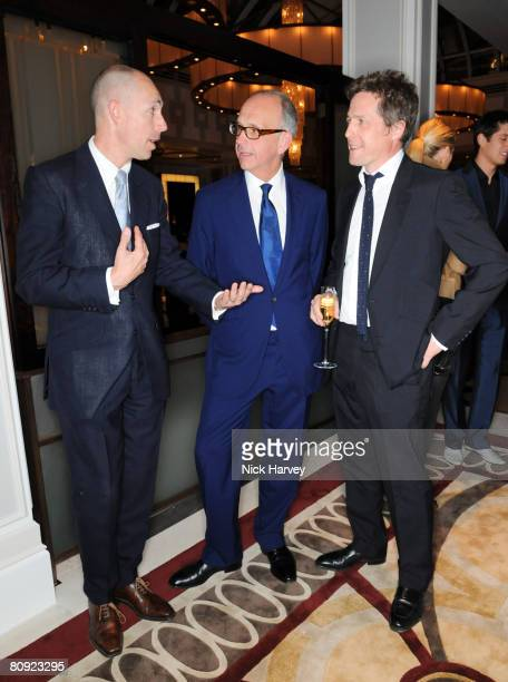GQ editor Dylan Jones Richard James and Hugh Grant attend James' 15th anniversary party hosted by Jones on April 29 2008 at The Lanesborough in...