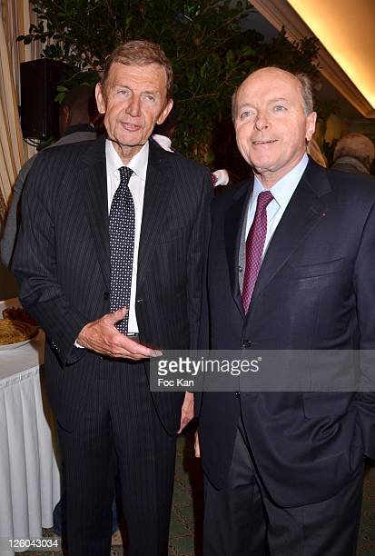 Editor Etienne Mougeotte from the Figaro and politician/secretary of the CIRA Jacques Toubon attend the 'Charity Event For Children in Haiti' hosted...