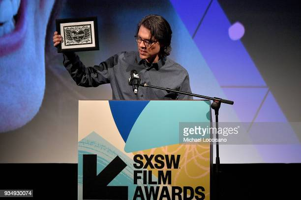 Editor Garret Savage presents the Karen Schmeer Film Editing Fellowship Presentation award at the SXSW Film Awards show during the 2018 SXSW...