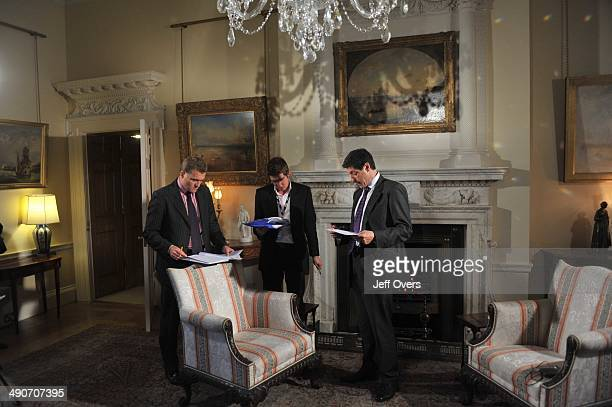 Editor Gavin Allen with Jon Sopel before an interview for the BBC's The Politics Show with Prime Minister Gordon Brown on November 23 2008 in Downing...
