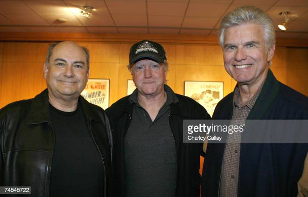 Editor Glenn Farr actor Scott Wilson and actor Kent McCord attend a reception prior to the screening of 'The Right Stuff' as part of the Academy of...