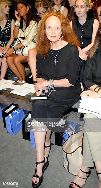 Editor Grace Coddington attends Rag Bone Spring 2009 at Pier 94 on September 5 2008 in New York City