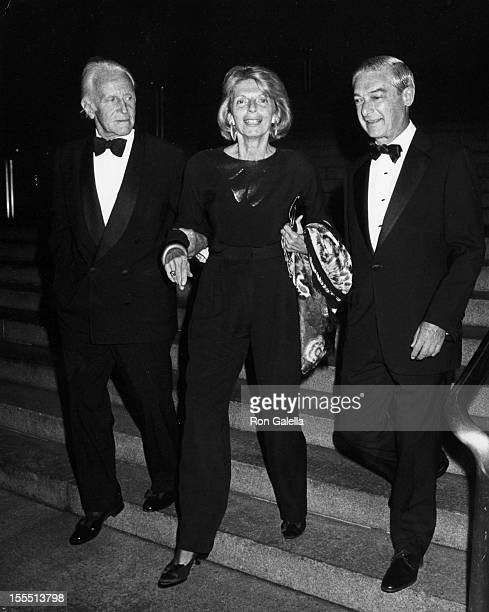 Editor Grace Mirabella husband William Cahan and guest attend Marvin Traub Party for Robert Campeau on September 8 1988 at the Metropolitan Museum of...