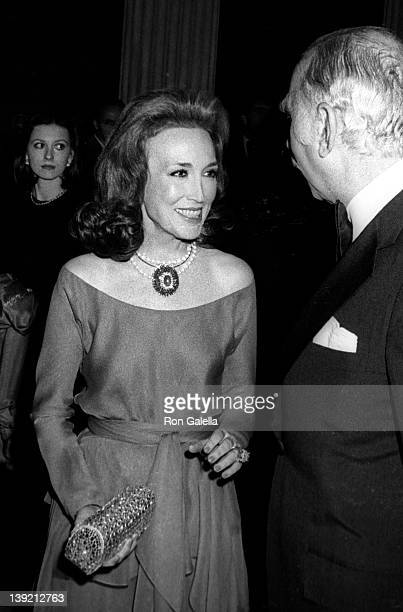 """Editor Helen Gurley Brown and husband David Brown attend Diana Vreeland Costume Exhitition """"The Glory of Russian Costume"""" on December 6, 1976 at the..."""