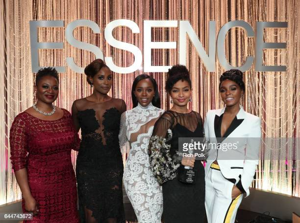 Editor in Chief at Essence Magazine Vanessa K De Luca honorees Issa Rae Aja Naomi King Yara Shahidi and Janelle Monae onstage at Essence Black Women...