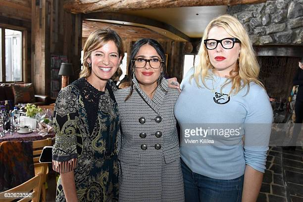 Editor in Chief at Glamour Magazine Cindi Leive actress Salma Hayek and founder of Girl Gaze Amanda de Cadenet attend Lunch Celebrating Films Powered...