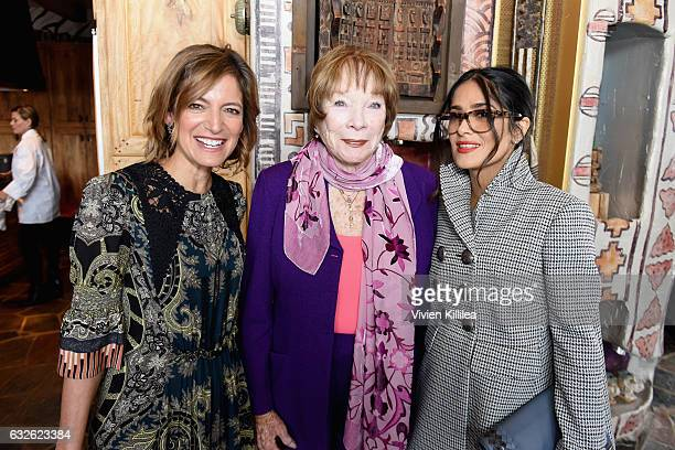 Editor in Chief at Glamour Magazine Cindi Leive and actresses Shirley MacLaine and Salma Hayek attend Lunch Celebrating Films Powered By Women Hosted...