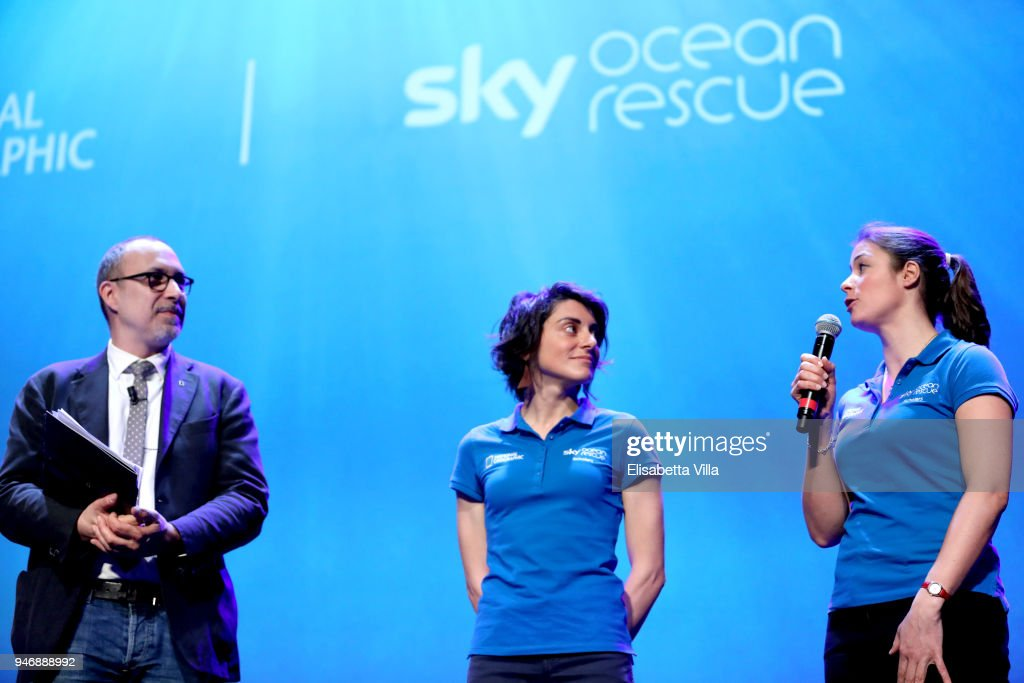 Editor in Chief at National Geographic Italy Marco Cattaneo, Sky Ocean Rescue Scholars Martina Capriotti and Annette Fayet speak on the stage at the National Geographic Science Festival at Auditorium Parco Della Musica on April 16, 2018 in Rome, Italy. National Geographic commit $10 million to support Sky Ocean Ventures as they join forces to reduce plastics in the ocean. The collaboration will create the largest global media campaign to date focused on marine plastics.