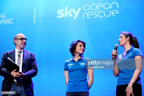 Editor in Chief at National Geographic Italy Marco Cattaneo Sky Ocean Rescue Scholars Martina Capriotti and Annette Fayet speak on the stage at the...