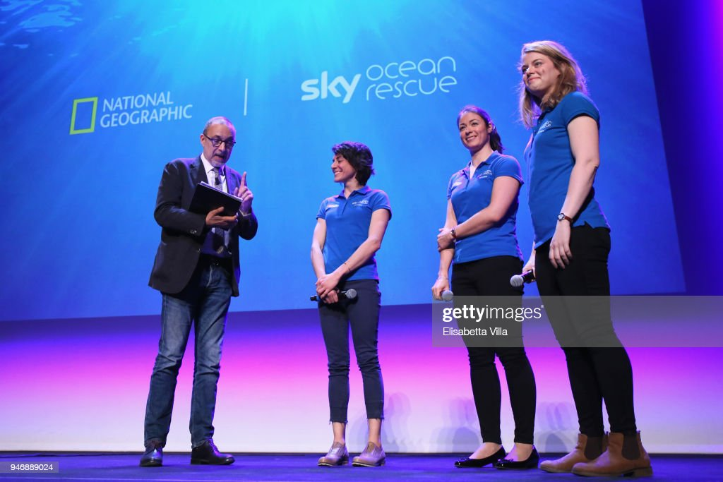 Editor in Chief at National Geographic Italy Marco Cattaneo, Sky Ocean Rescue Scholars Martina Capriotti, Annette Fayet and Imogean Napper speak on the stage at the National Geographic Science Festival at Auditorium Parco Della Musica on April 16, 2018 in Rome, Italy. National Geographic commit $10 million to support Sky Ocean Ventures as they join forces to reduce plastics in the ocean. The collaboration will create the largest global media campaign to date focused on marine plastics.