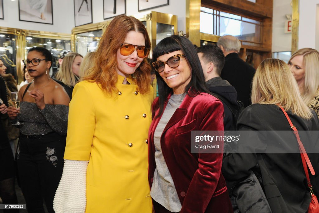 Editor in chief at Refinery29, Christene Barberich (L) and fashion designer Norma Kamali attend Vintage For The Future: A Norma Kamali Retrospective by What Goes Around Comes Around on February 13, 2018 in New York City.