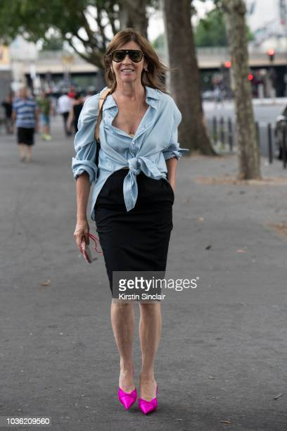 Editor in Chief CR Fashion book editor in chief Vogue Paris Carine Roitfeld wears Balenciaga shoes during Haute Couture Fall Winter 2018/2019 on July...