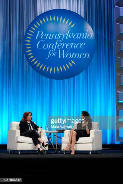 Editor in chief for Glamour magazine Samantha Barry and human rights lawyer Amal Clooney speak on stage during Pennsylvania Conference for Women 2018...