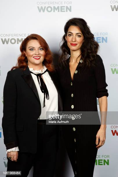 Editor in chief for Glamour magazine Samantha Barry and human rights lawyer Amal Clooney pose for a photo together during Pennsylvania Conference for...