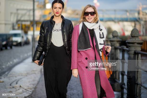 Editor in chief Instyle Germany Kerstin Weng wearing black wide leg pants black jacket and Sonia Lyson wearing Balenciaga scarf pink coat glitter...