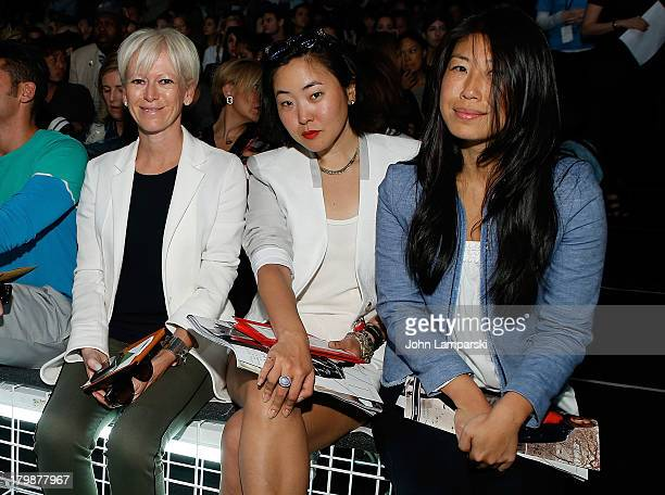Editor in Chief of Cosmopolitan Magazine Joanna Coles Iana Kanai and Cheng attend the Lacoste show during Spring 2014 MercedesBenz Fashion Week at...