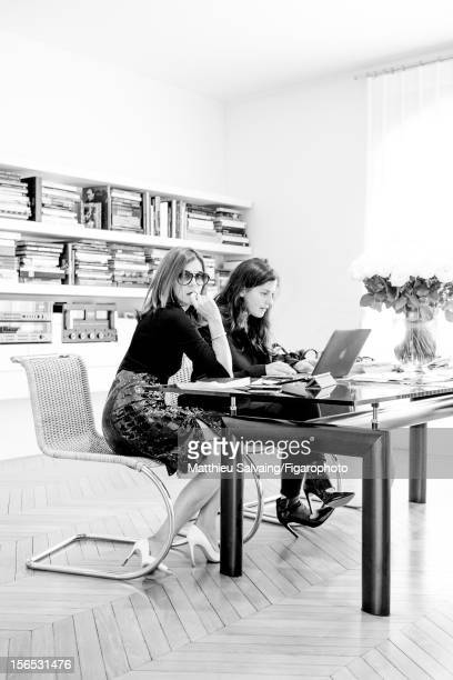 Editor in Chief of CR Fashion-Book, Carine Roitfeld and colleague Michaela are photographed for Madame Figaro on September 27, 2012 during Paris...