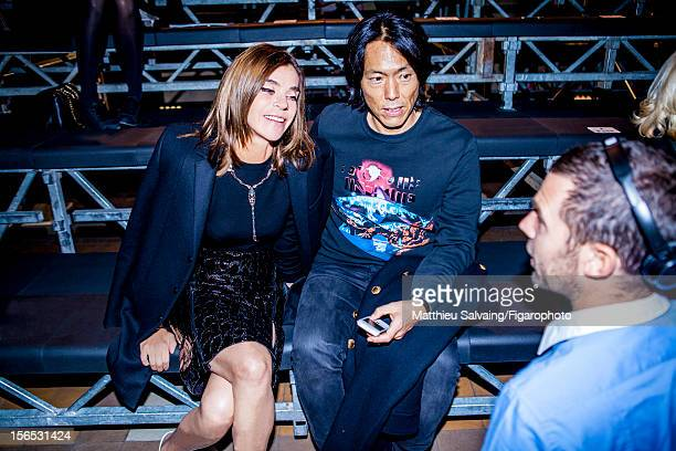 Editor in Chief of CR FashionBook Carine Roitfeld and editor Stephen Gan are photographed for Madame Figaro on September 27 2012 during Paris Fashion...