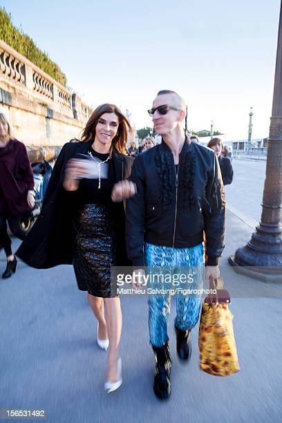 Editor in Chief of CR FashionBook Carine Roitfeld and fashion designer Jeremy Scott are photographed for Madame Figaro on September 27 2012 during...