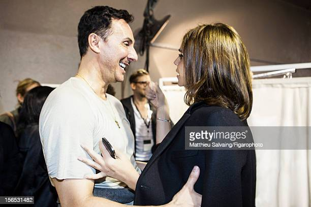 Editor in Chief of CR FashionBook Carine Roitfeld and hair stylist Luigi Murenu str photographed for Madame Figaro on September 27 2012 during Paris...