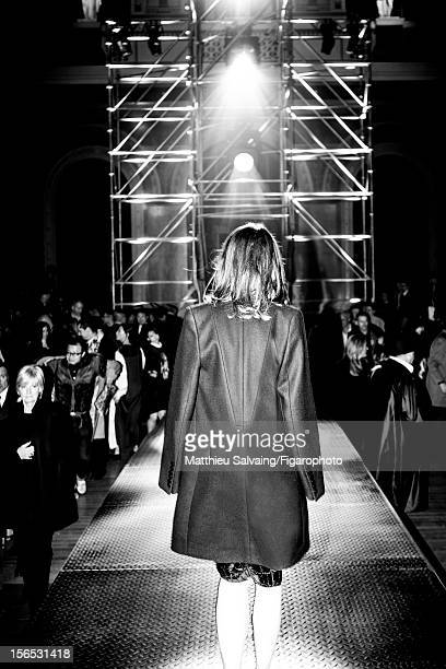Editor in Chief of CR Fashion-Book, Carine Roitfeld is photographed for Madame Figaro on September 27, 2012 at Lanvin show during Paris Fashion Week...