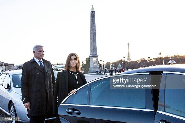 Editor in Chief of CR FashionBook Carine Roitfeld is photographed with chauffeur Gabriel for Madame Figaro on September 27 2012 during Paris Fashion...