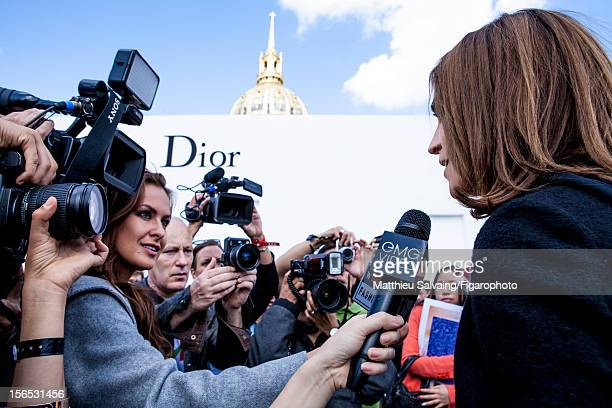 Editor in Chief of CR FashionBook Carine Roitfeld is photographed meeting the press before Dior Show for Madame Figaro on September 27 2012 during...